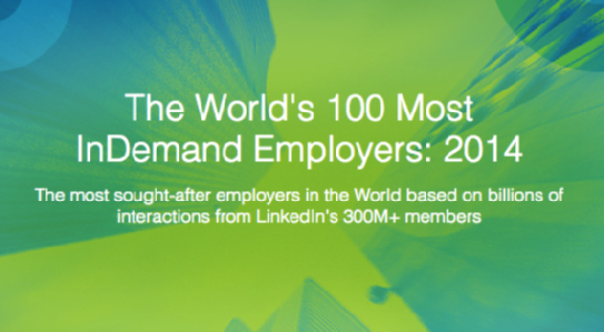 The World's 100 Most InDemand Employers: 2014. From LinkedIn: these are the most sought-after employers in the world based on billions of interactions from LinkedIn's 300M+ members.