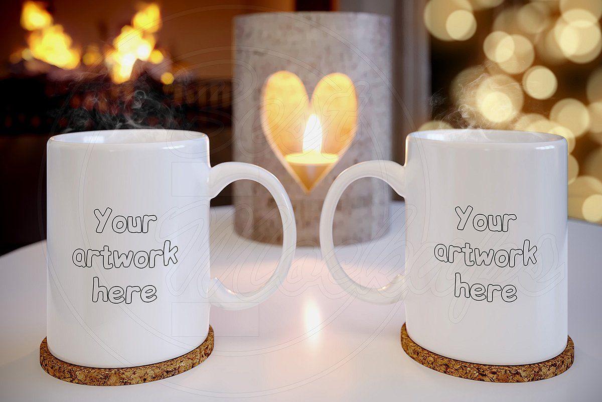 Set 2 mugs mockup PSD styled stock Free psd mockups