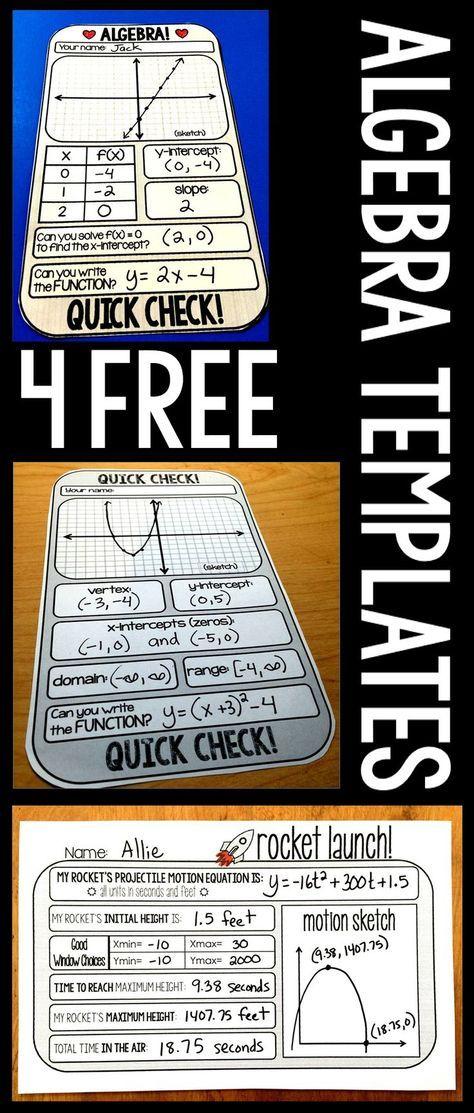 4 FREE Algebra and Algebra 2 Warm-up Templates | Algebra, Students ...