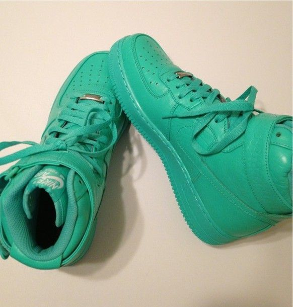 shoes nike shoes nike sneakers sneakers teal green high top nike ...
