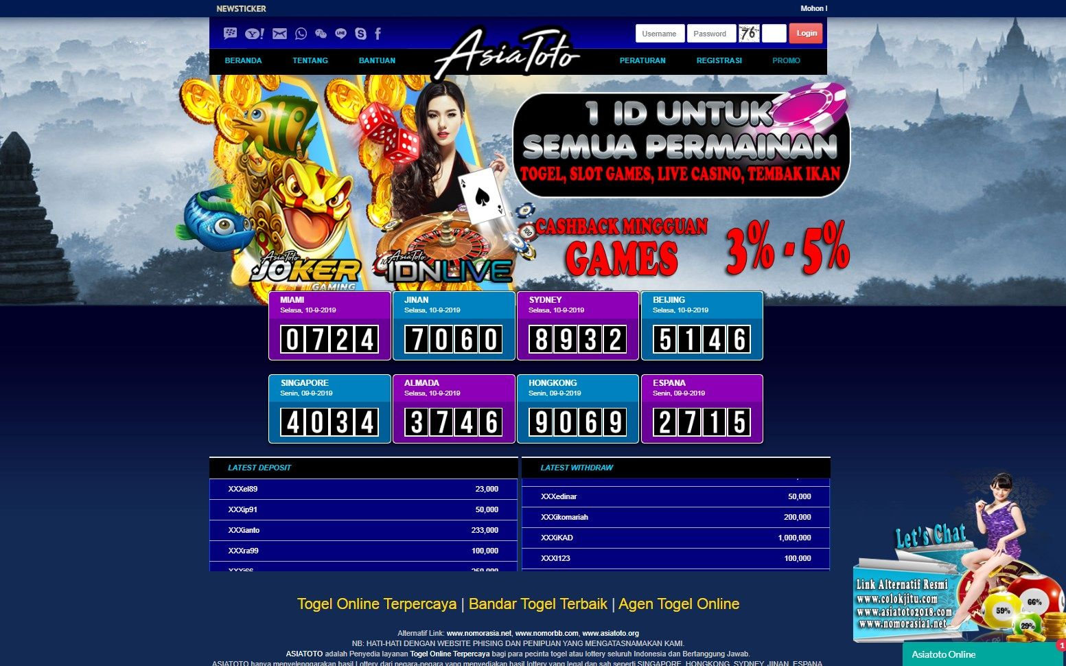 Asiatoto Menyediakan Promo Cashback Untuk Permainan Idn Live Casino Cashback Yang Di Dapatkan Minimal Kekalahan 500 000 Ribu Dan Pem Indonesia Website