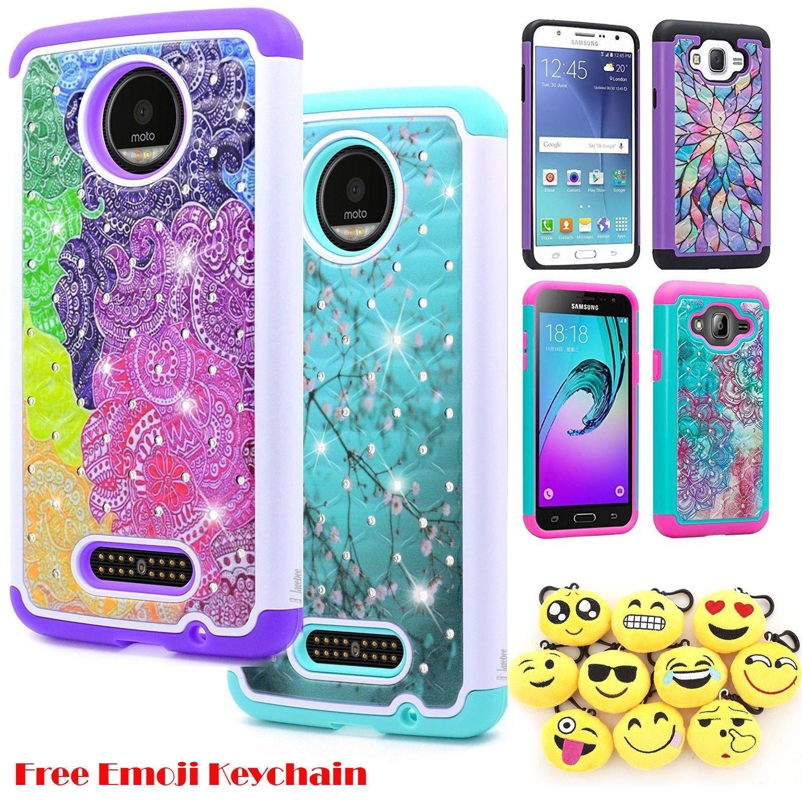 6a0dd2979ce Motorola Moto E4 Hybrid Hard Diamond Bling Phone Case Protective Cover +  Emoji