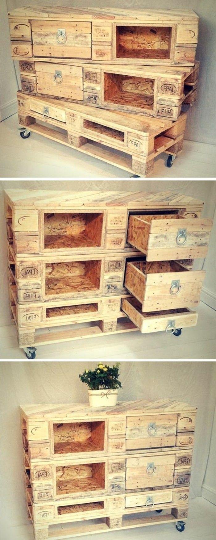 Muebles palets armario con cajas y ruedas diy pinterest - Muebles con palets ...