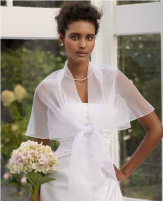Beautiful Short Sleeves Silk/Polyester Special Occassion/Wedding Shawl in Pure White-Dressfame.com