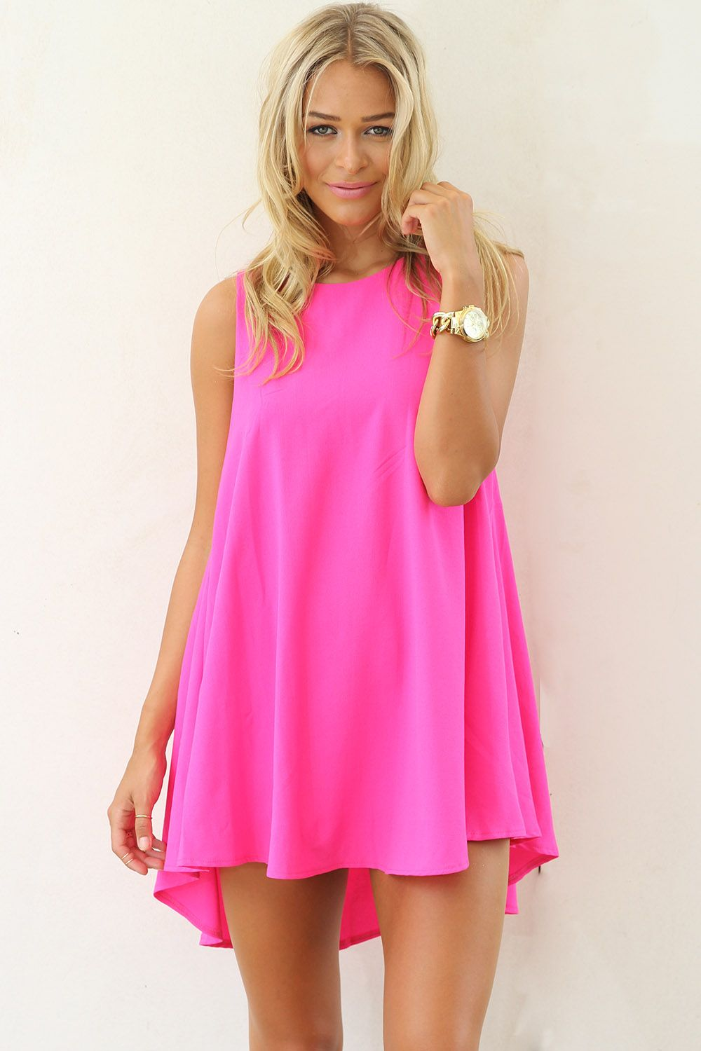 Pink silk lotus mini mullet dress | Hot pink dresses, Summer and ...
