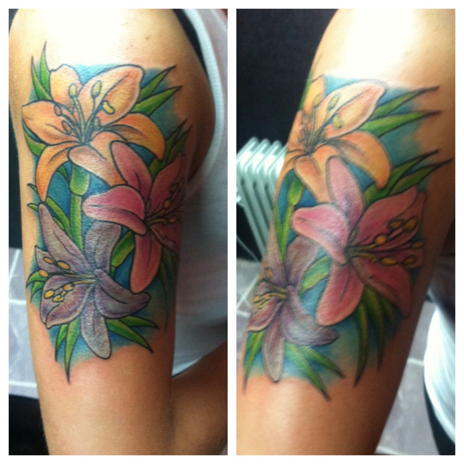 My first color tattoo. Tiger Lilies & star gazers to