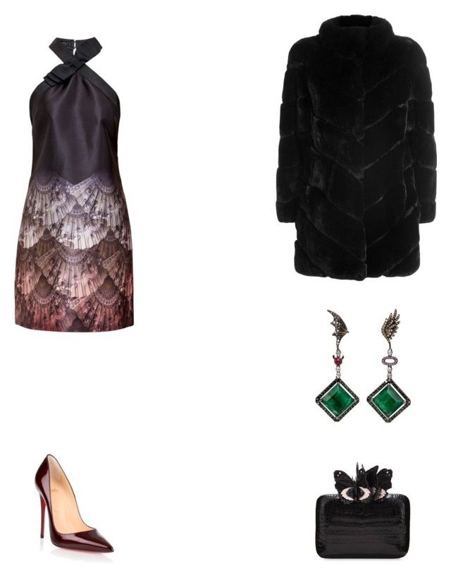 """""""Set"""" by michaelamc ❤ liked on Polyvore featuring Ted Baker, Christian Louboutin, Yves Salomon and Nancy Gonzalez"""