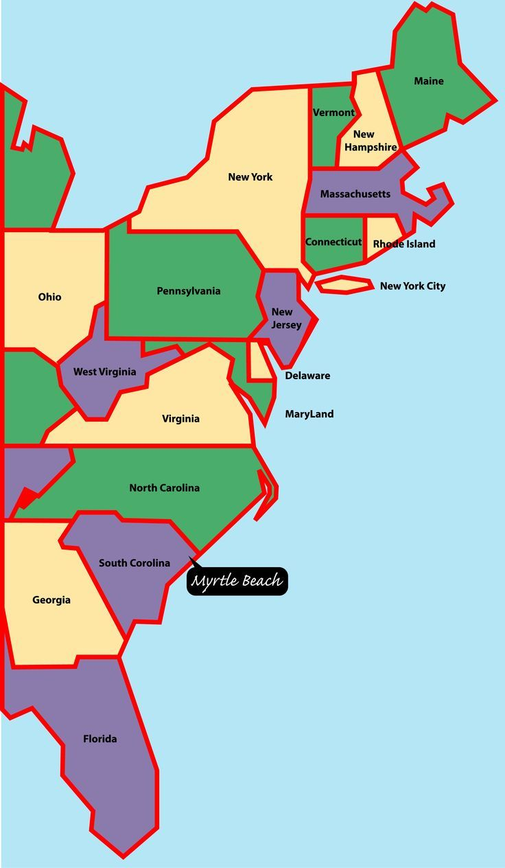 east+coast+map | Myrtle Beach is situated on the east, or ...