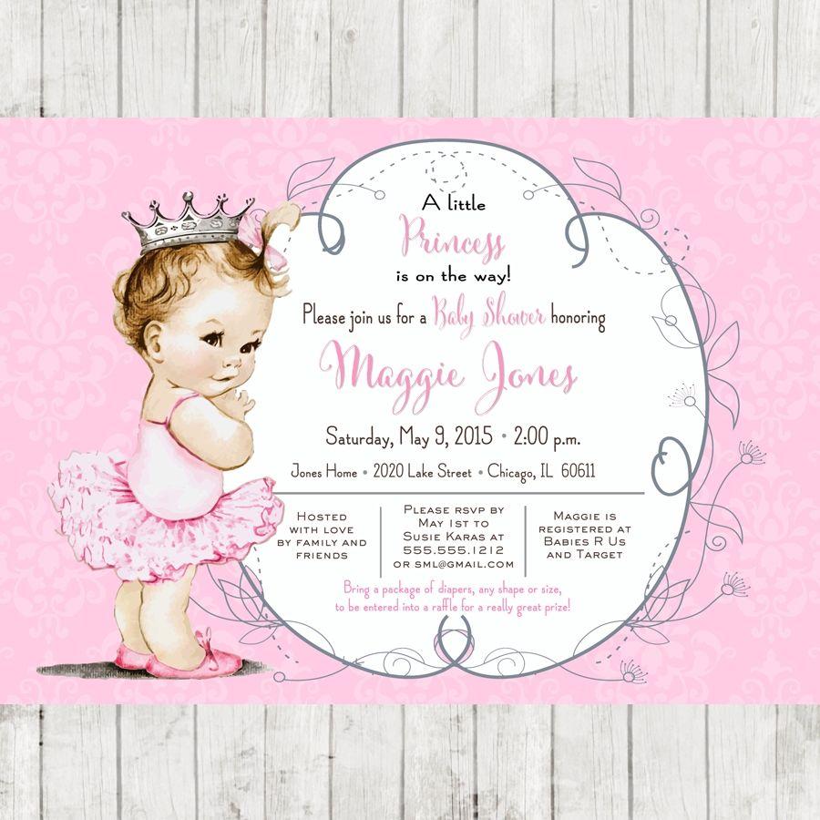 Vintage Ballerina Baby Shower Invitation For Girl Princess Crown Pink DIY Printable