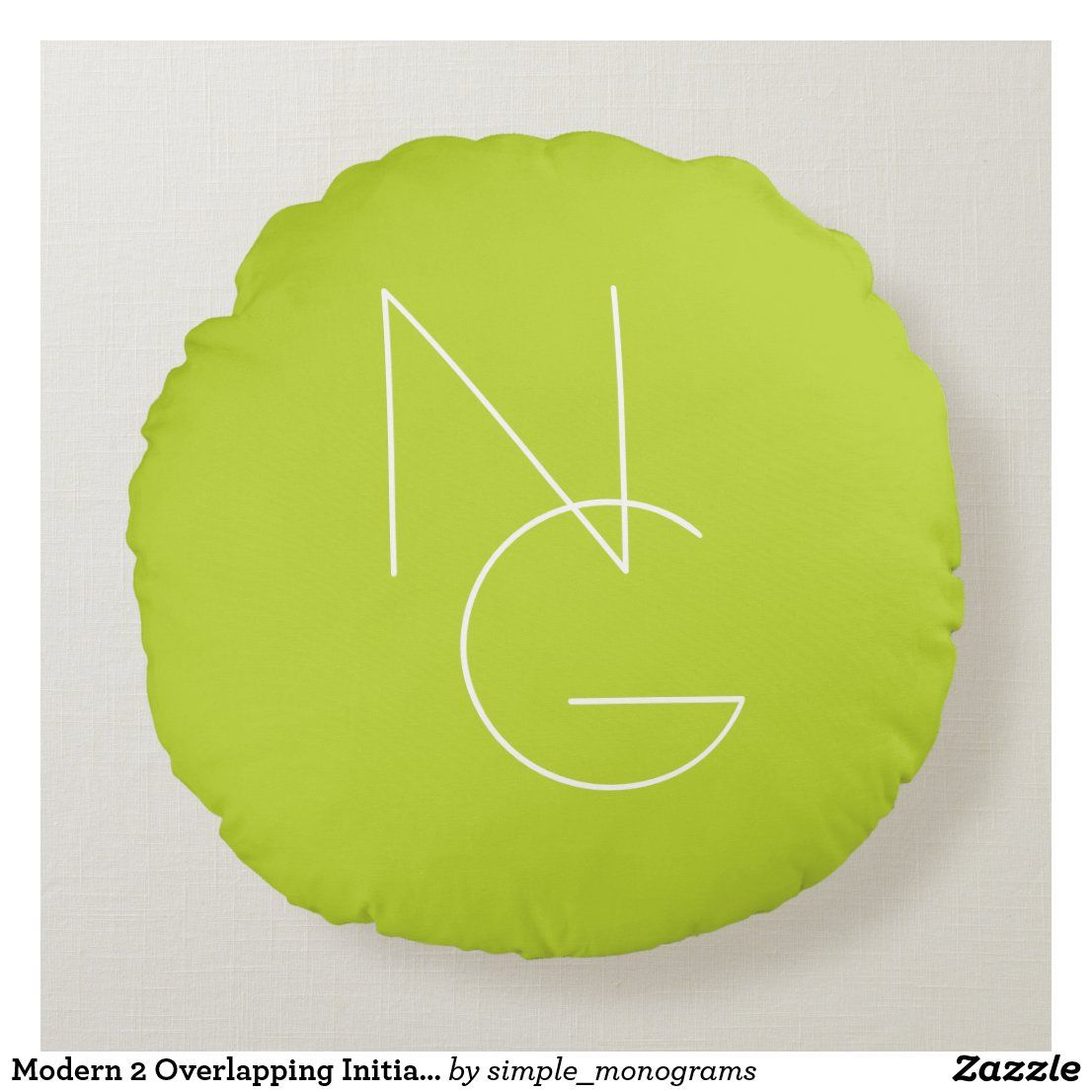 Modern 2 Overlapping Initials | Lime Green Round Pillow
