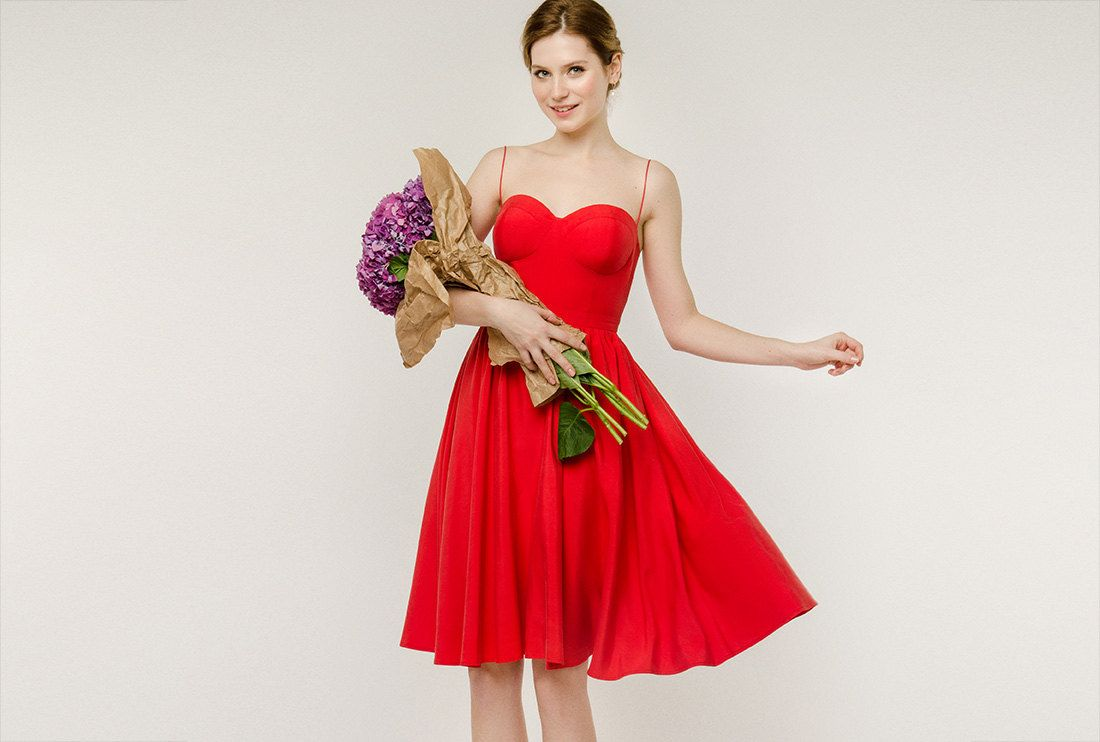 Nirina red bridesmaid dress with sweetheart neckline red silk