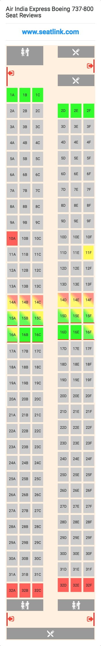 Air India Express Boeing 737 800 738 Seat Map