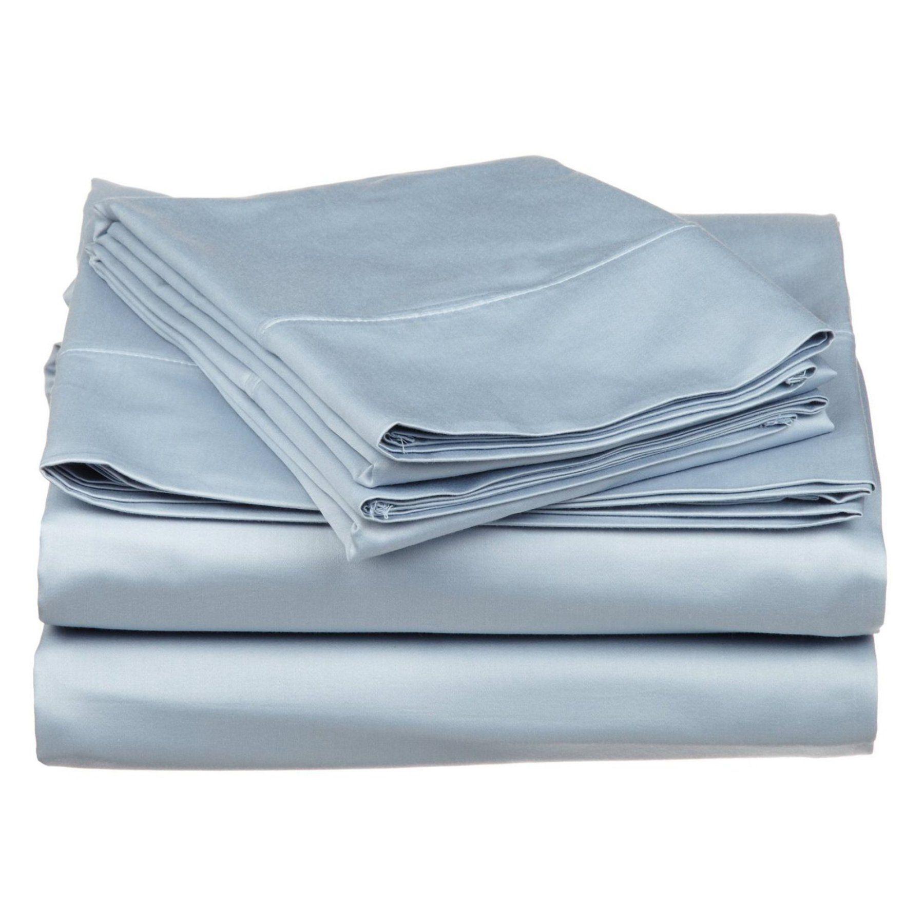 Superior 530tc Long Staple Combed Cotton Solid Sa Weave Sheet Set Light Blue 530sksh Sllb