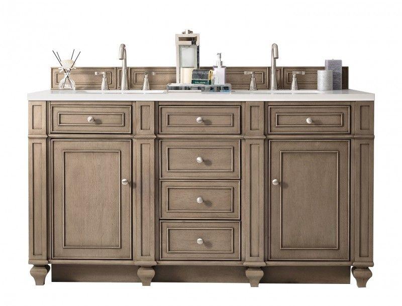 60 Inch Double Sink Bathroom Vanity Whitewashed Walnut Finish