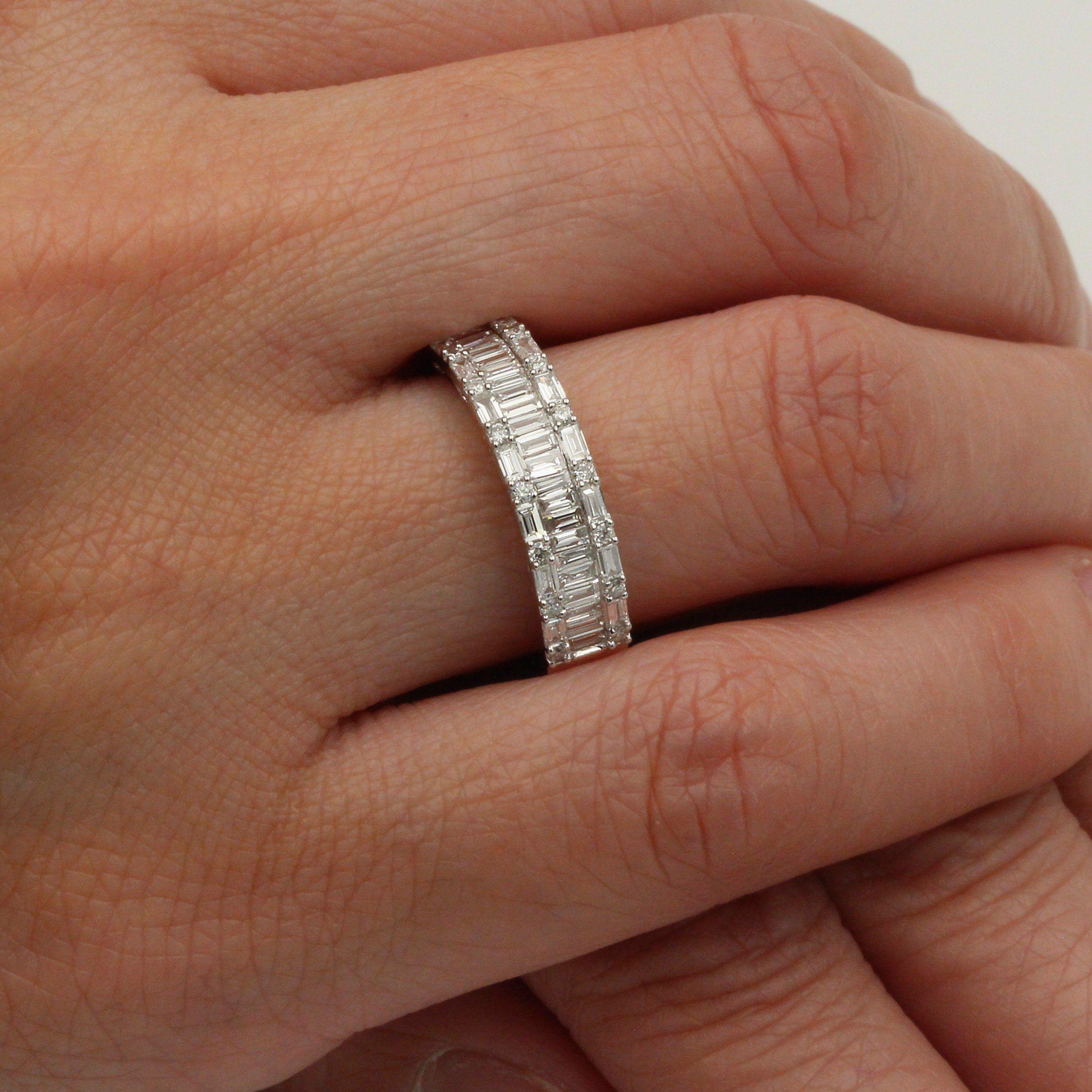 Multirow Baguette Diamond Engagement Ring 18k Solid Gold