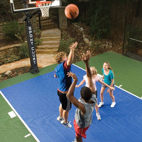 Backyard Basketball Court Family Playing Basketball Basketball Court Backyard Backyard Basketball How To Level Ground