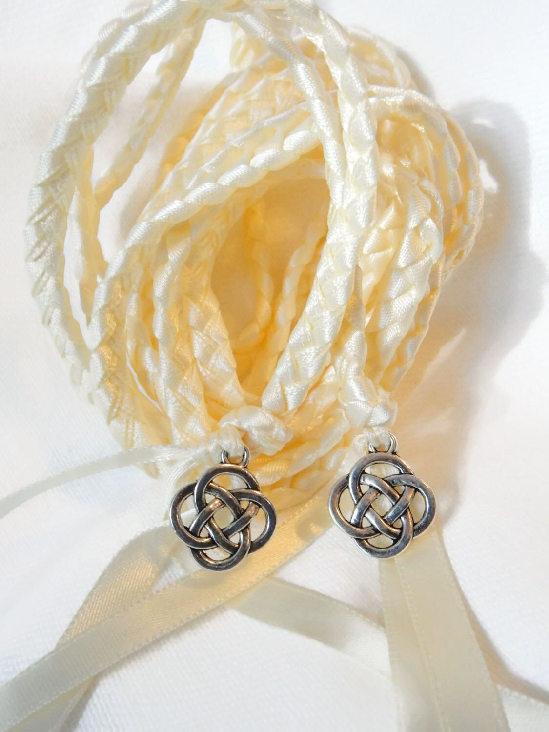 Ivory Celtic Knot Wedding Ceremony Handfasting Cord Choose Charm Finish Irish By Divinitybraid