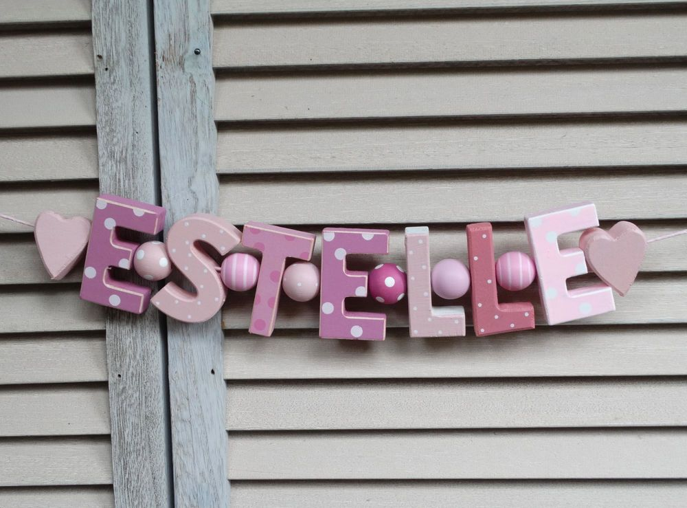 """ESTELLE"" NAMENSKETTE KINDERZIMMER ROSA HOLZBUCHSTABEN BABY NAME PARTY SHABBY"