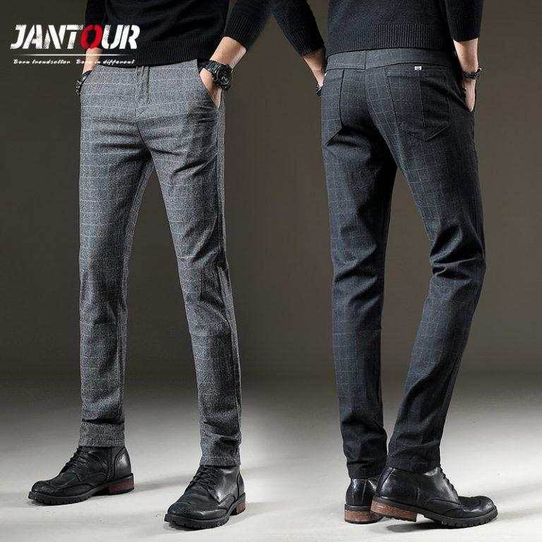 Men Casual Pants Elastic Long Trousers