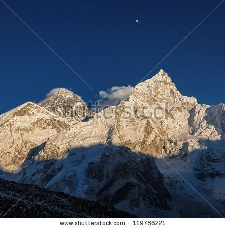 The Moon, Mt. Everest (8848 m), and Nuptse (7864 m) in the evening (view from Kala Patthar) - Nepal, Himalayas by Vadim Petrakov, via Shutte...