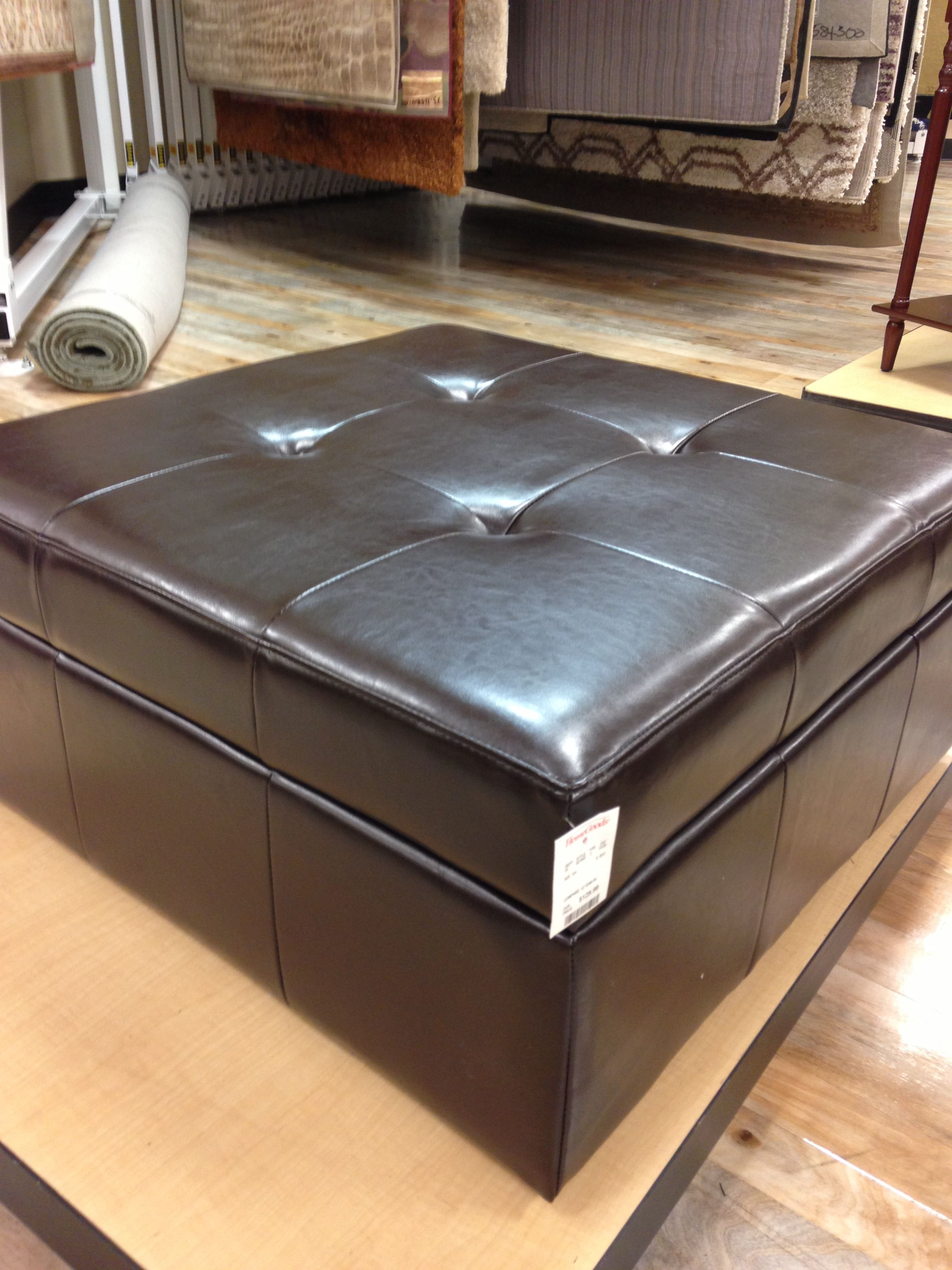 Leather Storage Ottoman With Wheels Homegoods 129 33 X 33