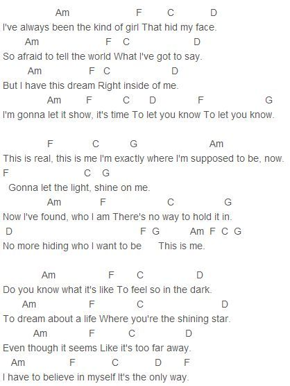 Camp Rock This Is Me Chords Capo 1 Cover Songs Pinterest