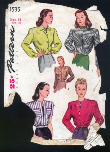 1940 Simplicity Pattern Ladies Eisenhower Style Jacket Jacket Pattern Sewing Short Jacket Pattern Patterned Bomber Jacket