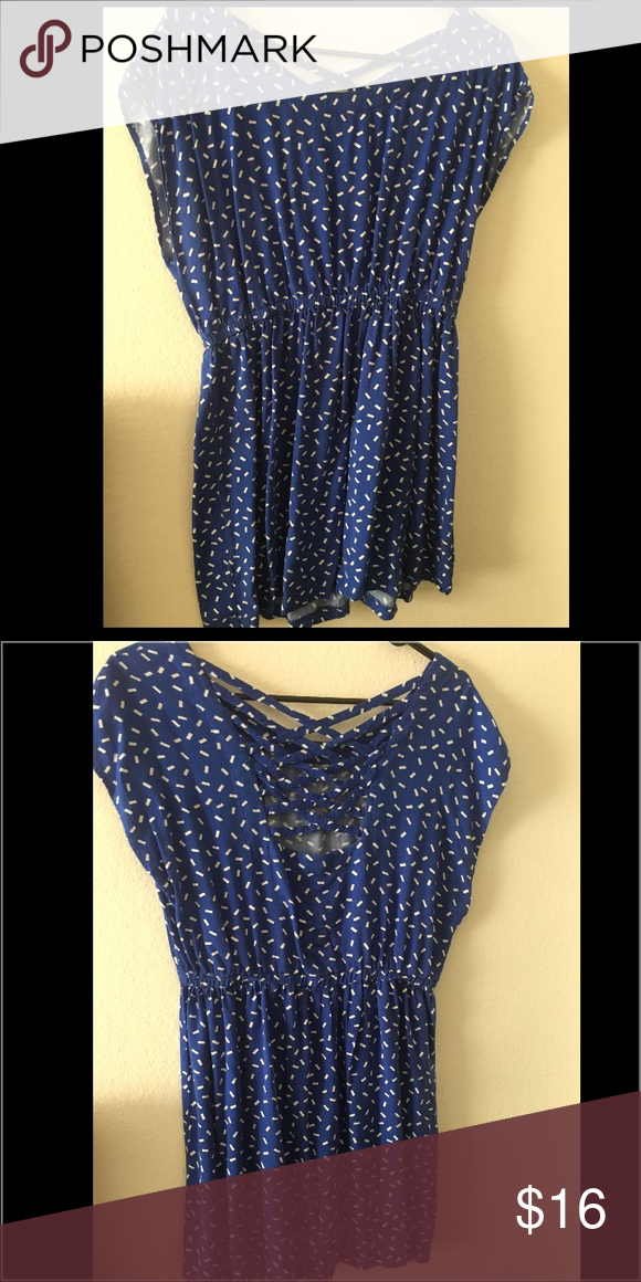 Dress Blue dress with cinched waist and speckled white detail, criss cross back detail Forever 21 Dresses