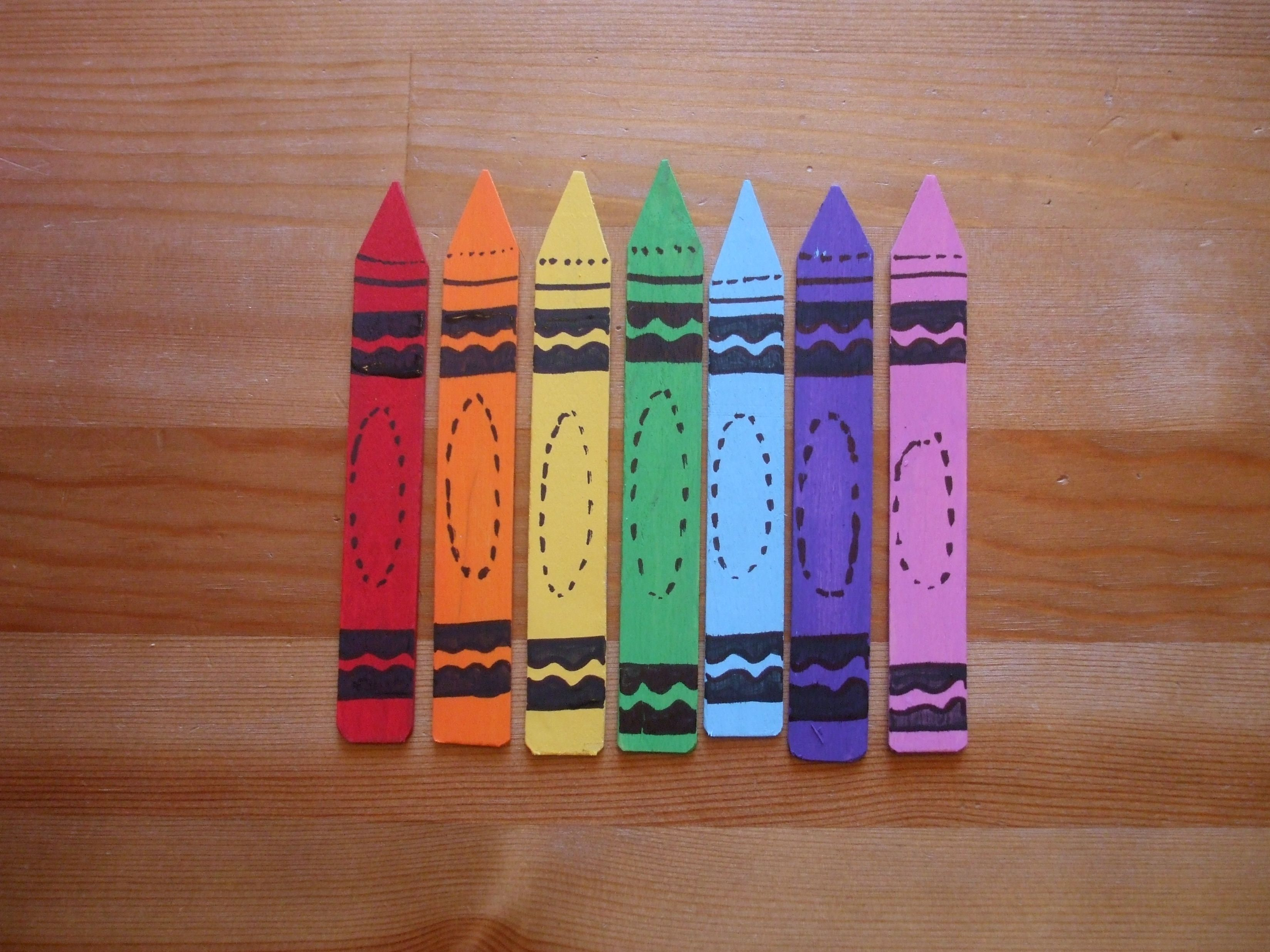 Magnetic Crayon Nametags Made Out Of Large Popsicle Sticks