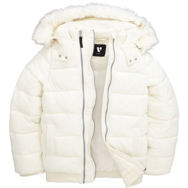 V By Very Girls Double Zip Padded Jacket With Faux Fur Hood (285 HKD) ❤ liked on Polyvore featuring outerwear and padded coat