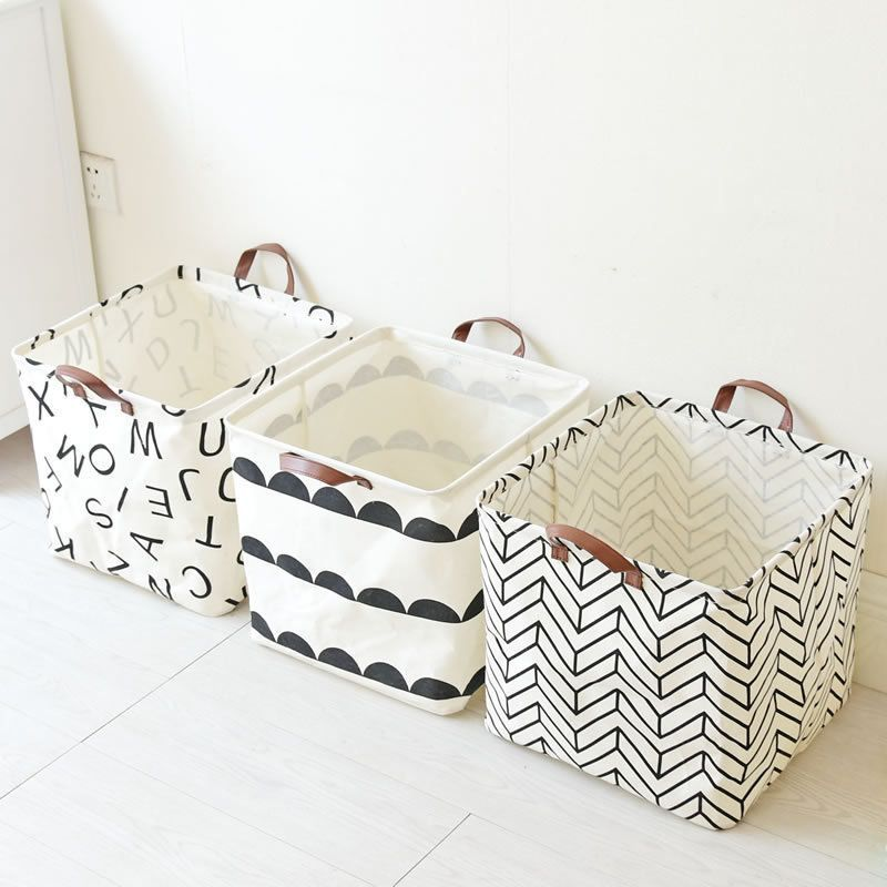 Simple Style Waterproof Linen Portable Storage Baskets Home Clothes Toy Bathroom In 2020 Toy Storage Baskets Fabric Storage Baskets Toy Basket