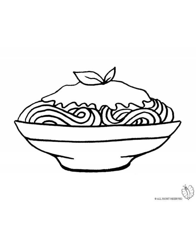 disegno di piatto di spaghetti pasta salsa da