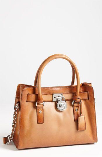 I neeeeeeed a leather brown bag! Love this one! MICHAEL Michael Kors 'Hamilton' Satchel | Nordstrom