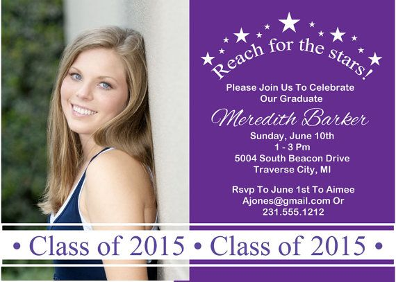 Reach for the stars graduation announcement high school photo reach for the stars graduation announcement high school photo graduation invitation filmwisefo Gallery