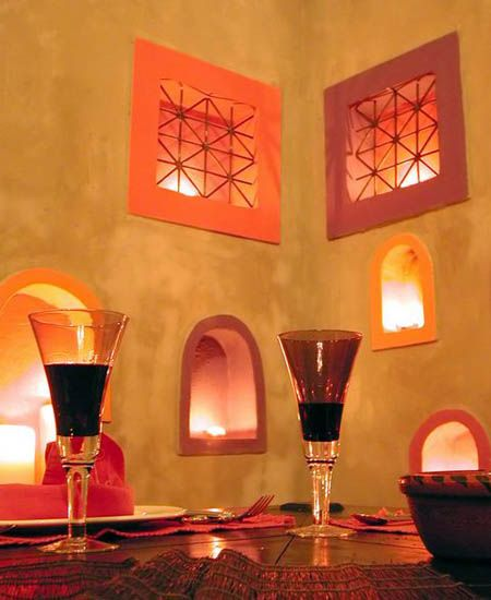 Photo of moroccan decor in yellow and orange colors
