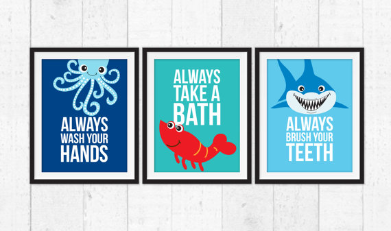 Bathroom Wall Decor Kids Take A Bath Wash Your Hands Brush Your