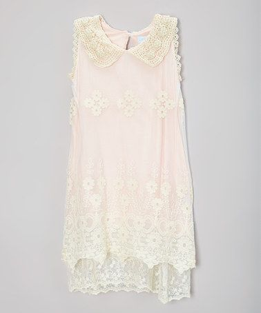 Pink lace collar dress