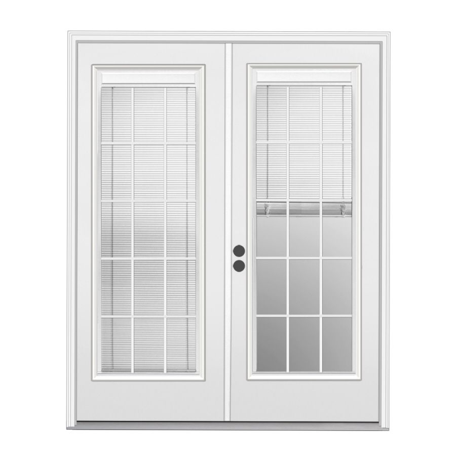 Shop Reliabilt 71 1 2 Triple Pane Blinds Between The Glass Steel French Patio Door At Lowes Com French Doors Patio Patio Doors French Doors Interior