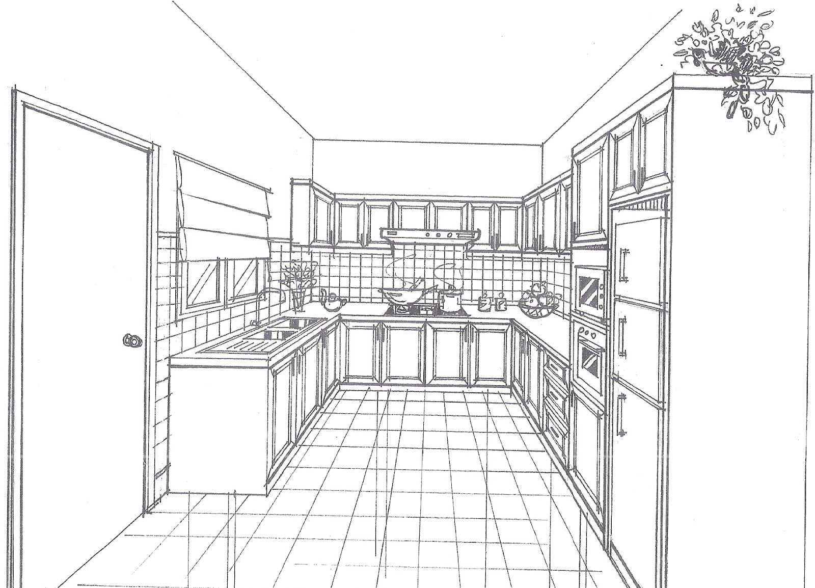 How To Draw One Point Perspective Kitchen With Furniture, Desk ...