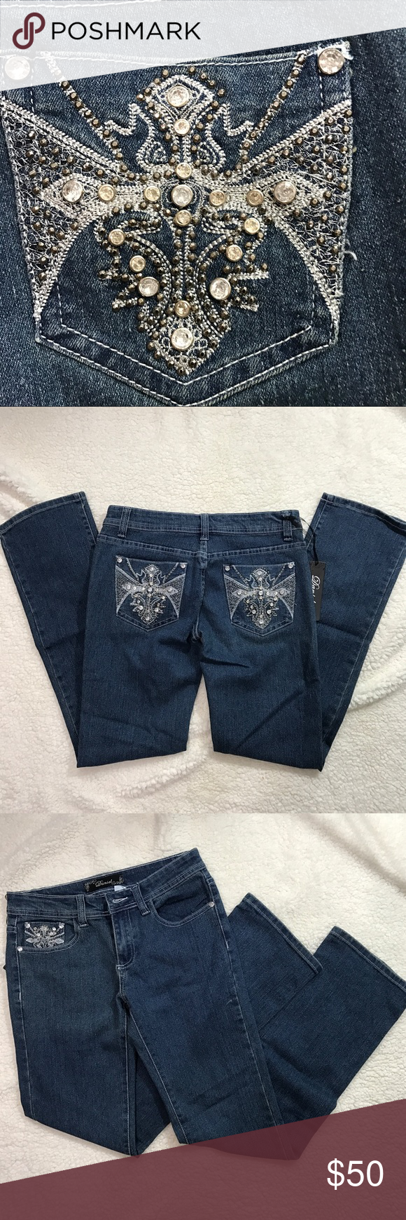 New Daniel Rhinestone Jeans size 3-4 Brand new daniel Jeans Straight Leg