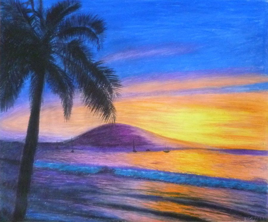 Oil Pastel By Megajessica On Deviantart Oil Pastel Drawings Oil Pastel Paintings Colorful Landscape