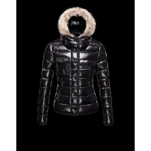 Detachable Nero Armoise Trimmed Piumini Fur Donna Moncler qctwBHp1