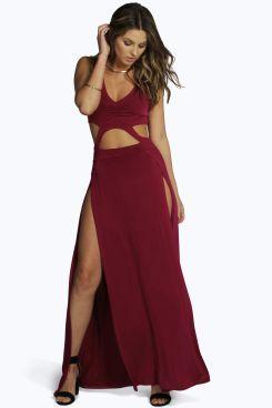 6b3e11861f27 Slinky Cutout Thigh Split Maxi Dress | vegas outfits in berry ...