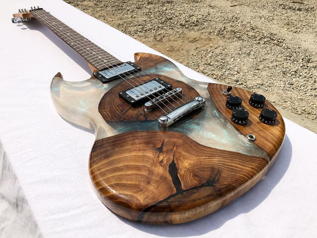 Guitar Made Of Wood And Epoxy Resin Guitar Kits Electric Guitar