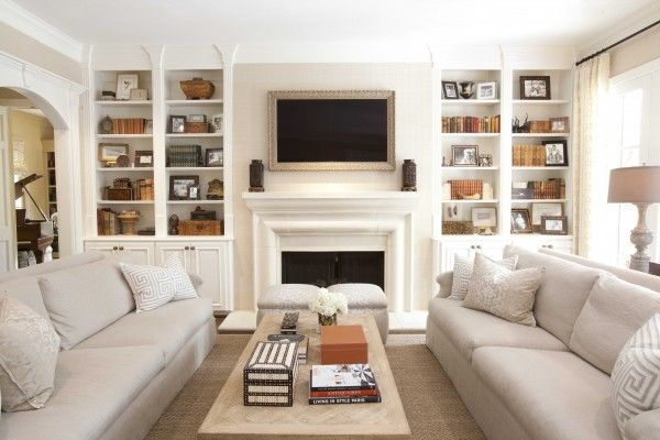 Framed Tv Shelves Dual Sofas Livingroom Layout Narrow