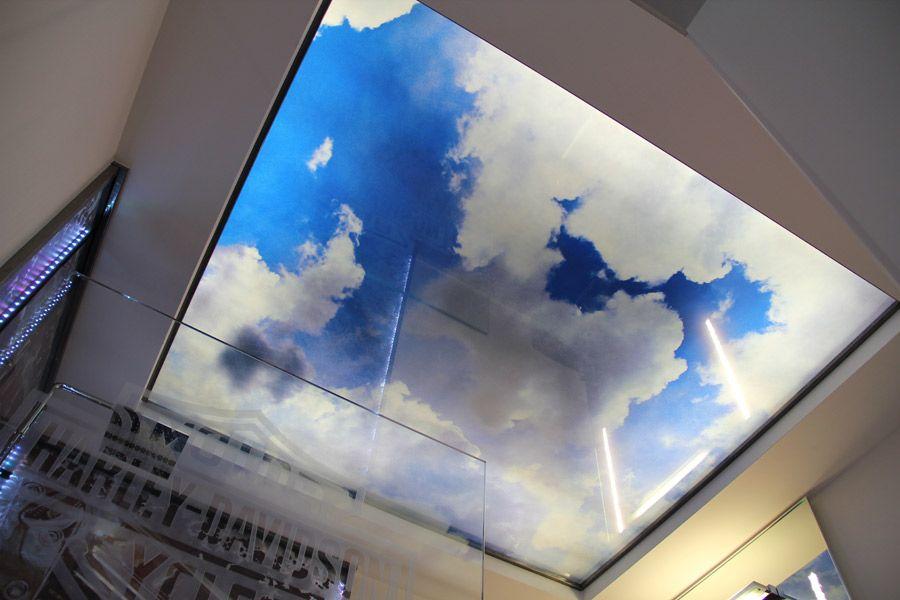 glasdecke druck auf esg glas mit led beleuchtung druck auf glas spiegelglas und acrylglas. Black Bedroom Furniture Sets. Home Design Ideas