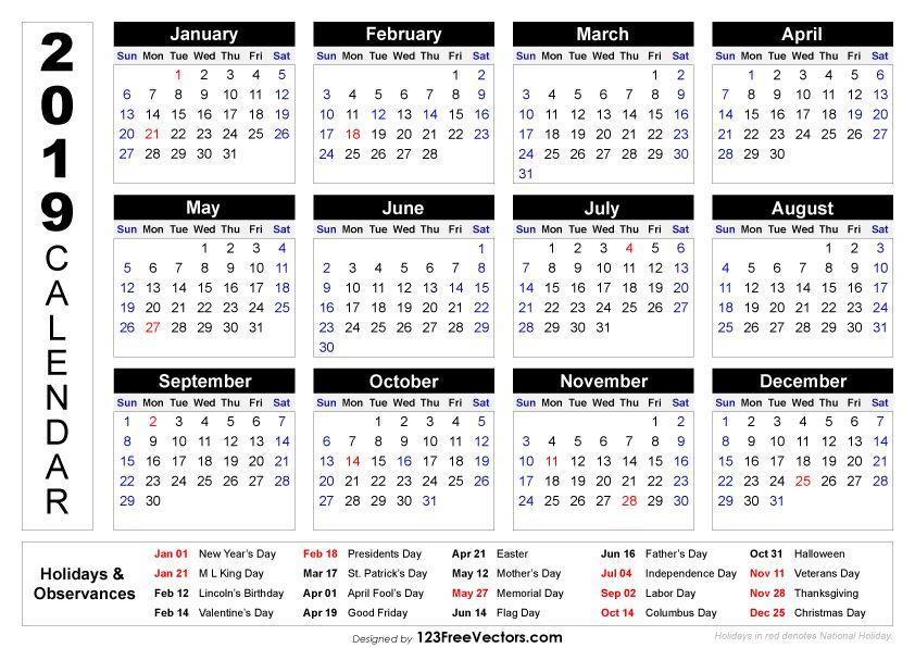 2019 Printable Calendar with Holidays 2019 Calendar Pinterest