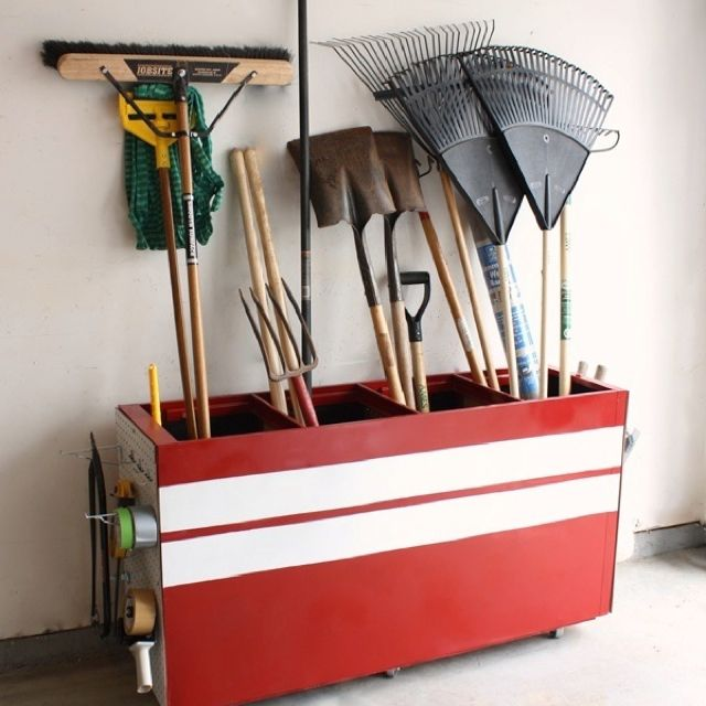 Have an old filing cabinet? Well, you are in luck: revamp it to hold all your garage clutter. Notice the side---definetly can find that at a local home improvement store. Now I just need a house ;)