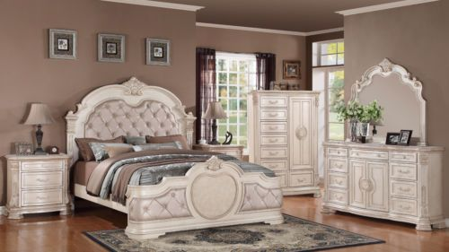 Opulent Infinity Antique Bedroom Set Queen 6 Pc Free Shipping Vintage White Bedroom