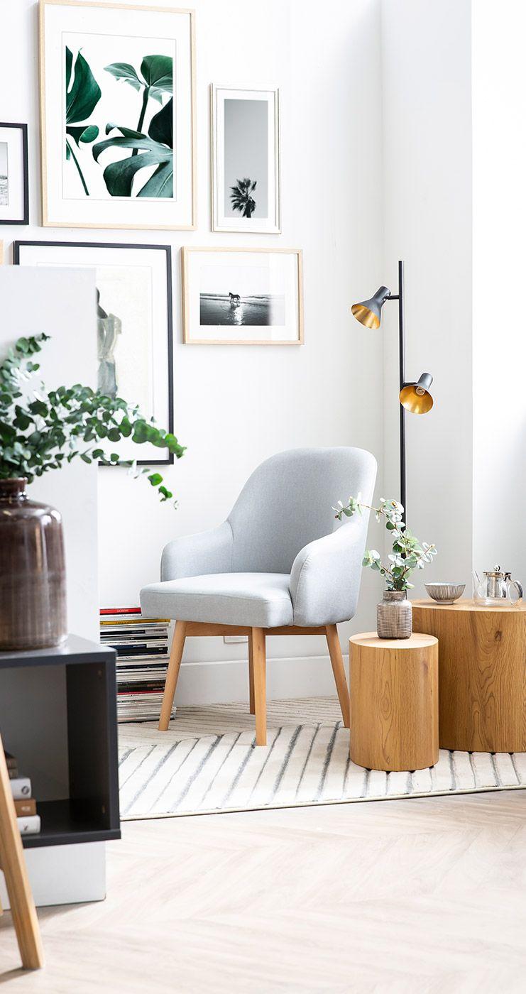 Fauteuil Scandinave Gris Et Bois Clair Mona Miliboo En 2020 Fauteuil Design Mobilier De Salon Deco